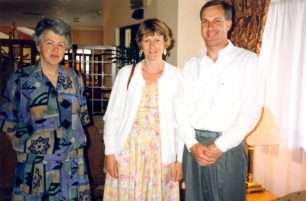 Daphne with two guests at her retirement party