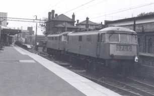 Electric locomotives at Bletchley Station