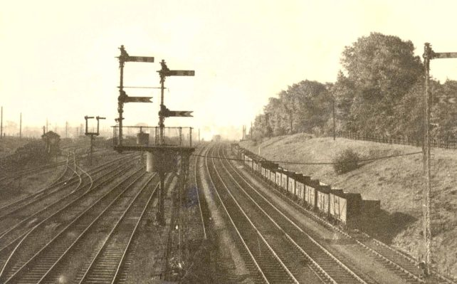 View towards Bletchley station from the north
