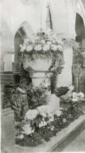 Floral display inside St Mary's church