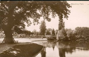 Bletchley Park Lake (with St Mary's church in the background)