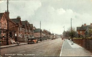 Bletchley Road with Pollard's, Ramsbotham's and Post Office