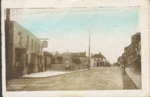 High Street Fenny Stratford with Bull Hotel and crossroads