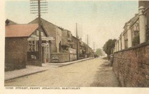 High Street Fenny Stratford showing Palace Cinema and adjacent garage