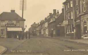High Street Fenny Stratford showing Durran's optician, and Swan Hotel