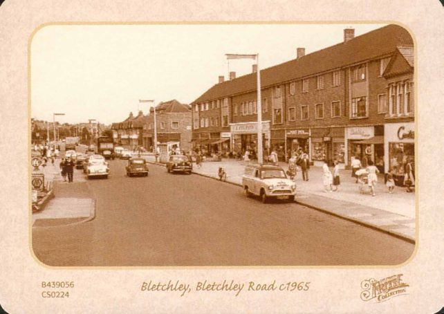 Bletchley Road (Queensway) showing shops from Contessa to Curry's