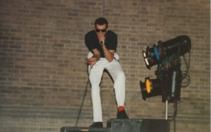 Pitz Gig 2 - Singer Graham Dee performing on the speakers