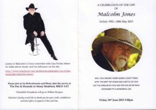 Celebration of the life of Malcolm Jones