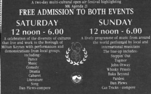 Campbell Park Global Festival '96 [newspaper advert]