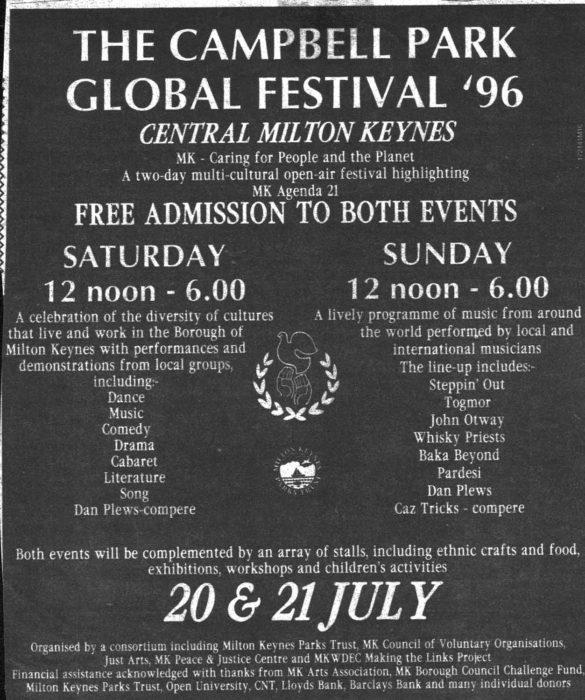 Campbell Park Global Festival '96 [newspaper advert]