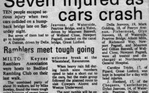 Seven injured as cars crash [newspaper article]