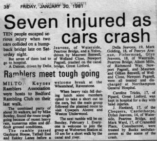 Seven injured as cars crash [newspaper article]