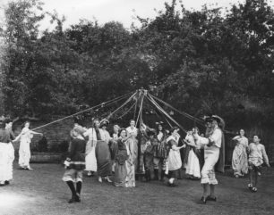 A performance of the Maypole Dance at St Mary's Church, Stony Stratford
