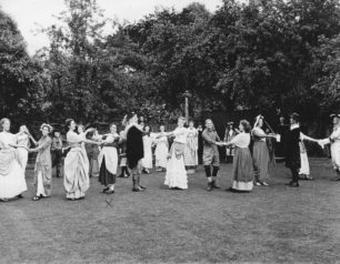 A performance of the Maypole Dance - Connie Shean, 4th from the left