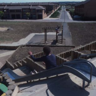 Children on  Oldbrook play equipment