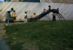 children's play area with slide