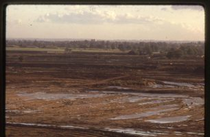 Construction of lake, panorama looking South