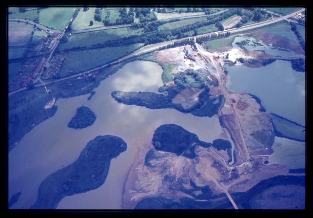 Aerial view of Little Linford Lakes