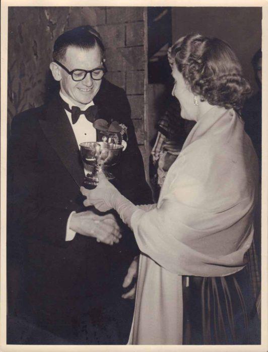 Photograph of presentation to Albert Harrington