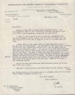 E. Harrington's Hospital letter, 1968