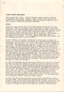 Albert Harrington's Life History