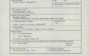 Albert Harrington's Death Certificate