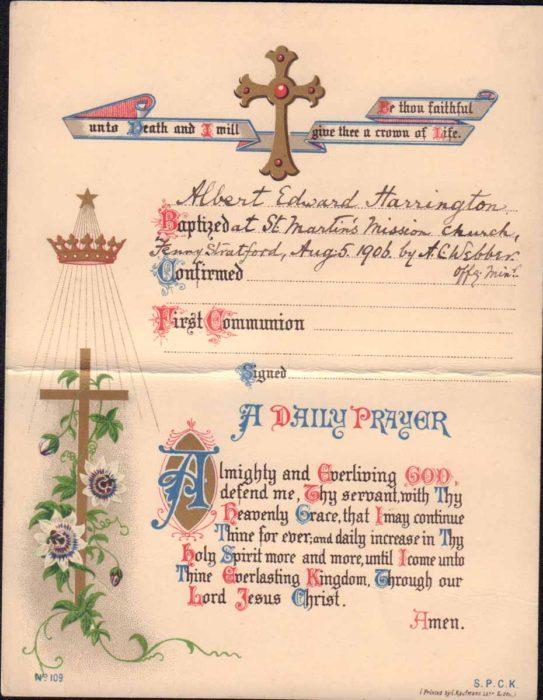 Albert Harrington Baptism Prayer Card
