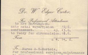 Bill for Medical Attendance to Mrs Harrington, 1938
