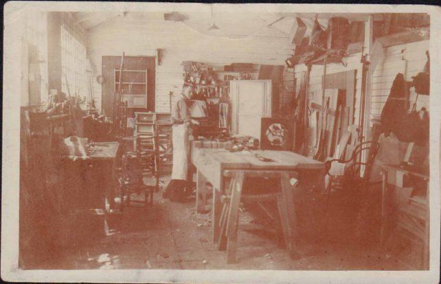 Photo of Albert Harrington's Workshop, 1931
