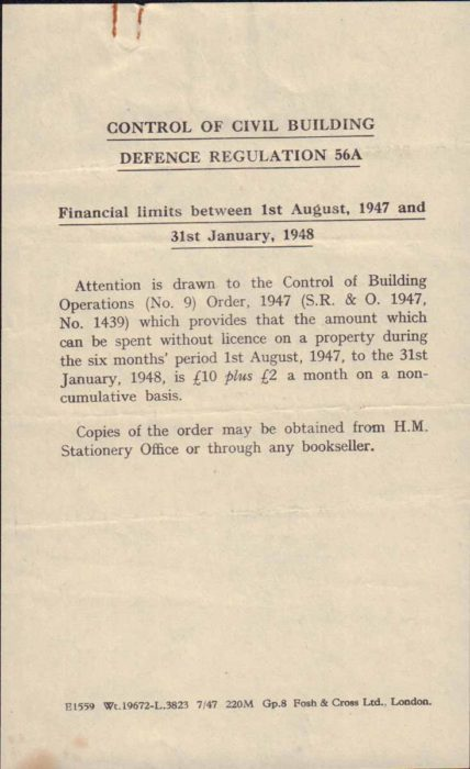 Control of Civil Building note, 1947