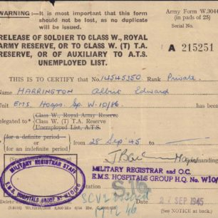 Army Release Certificate, 1945