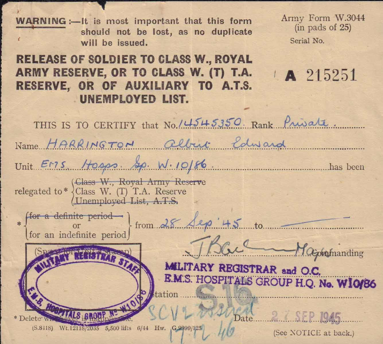 release certificate army 1945