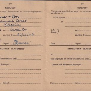Ministry of Labour Card, 1945