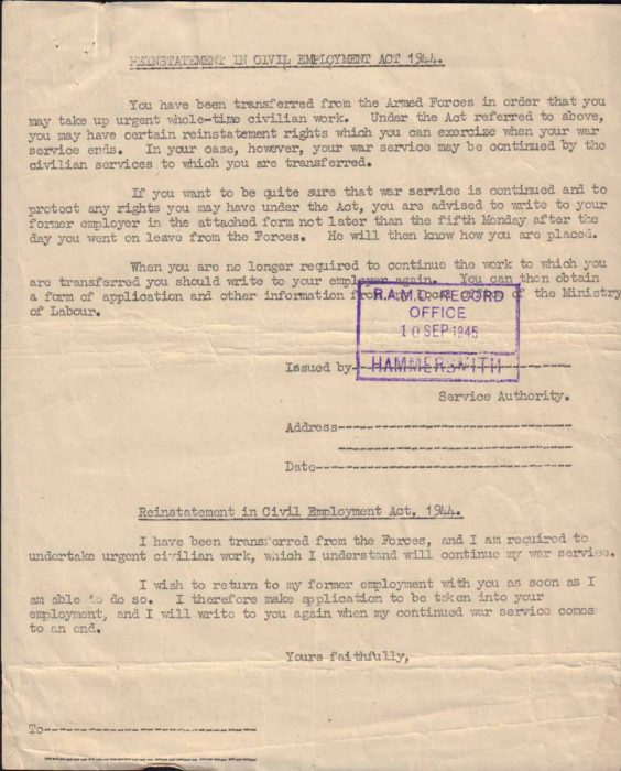 Reinstatement in Civil Employment note, 1945
