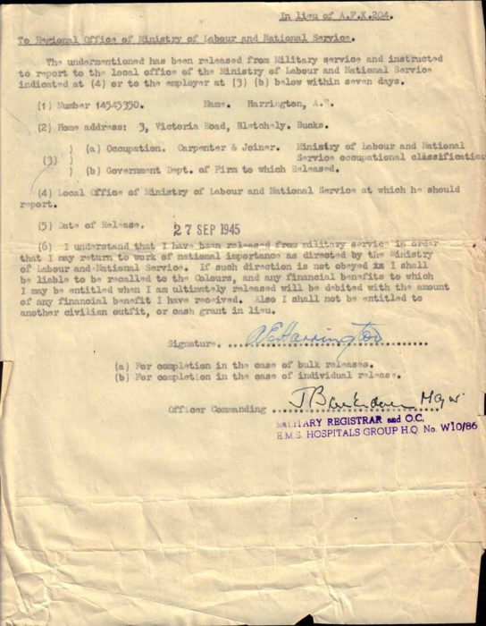 Release Form, 1945