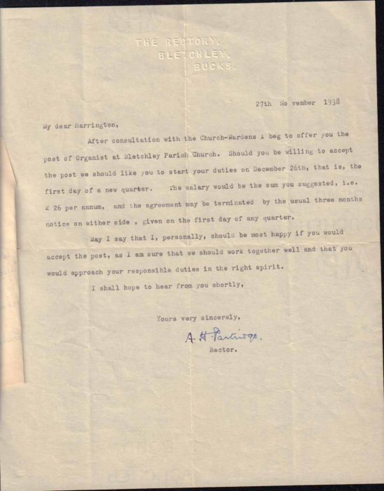 Letter offering post of Organist, 1938