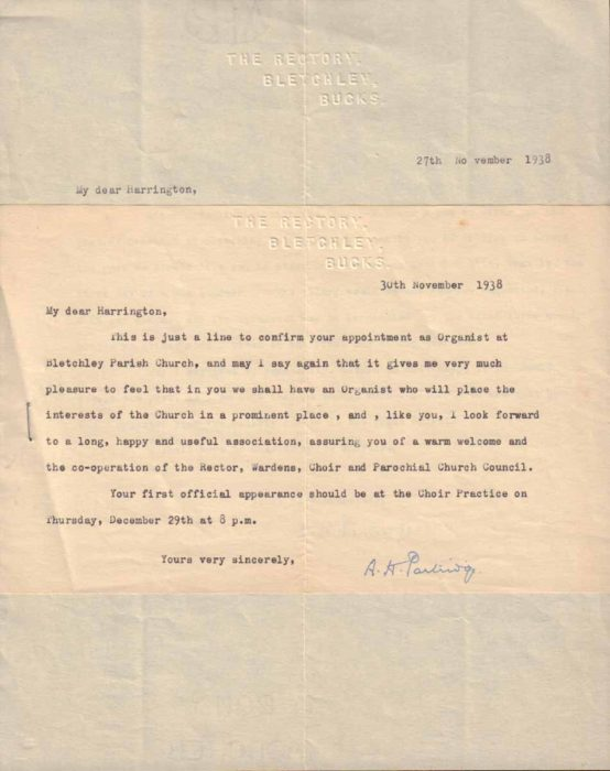 Letter confirming appointment as Organist, 1938