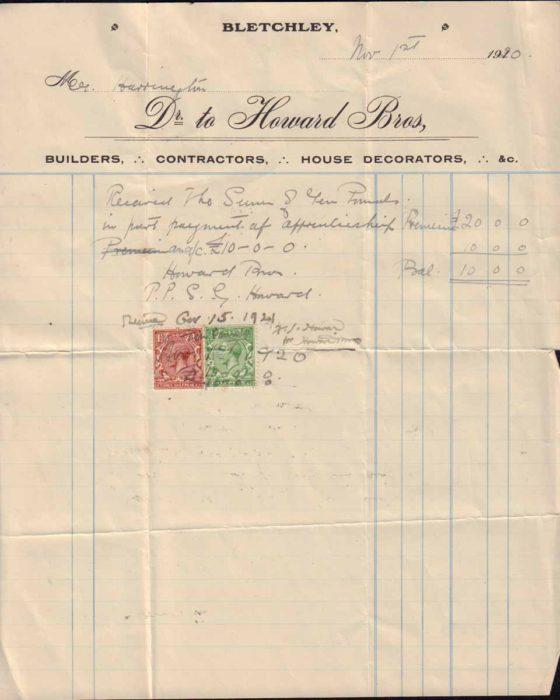Receipt for Apprenticeship, 1920