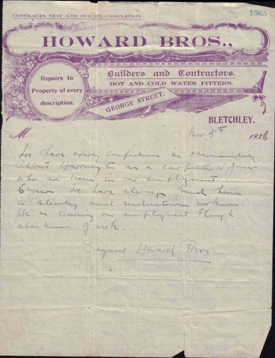 Reference letter from Howard Bros, 1926