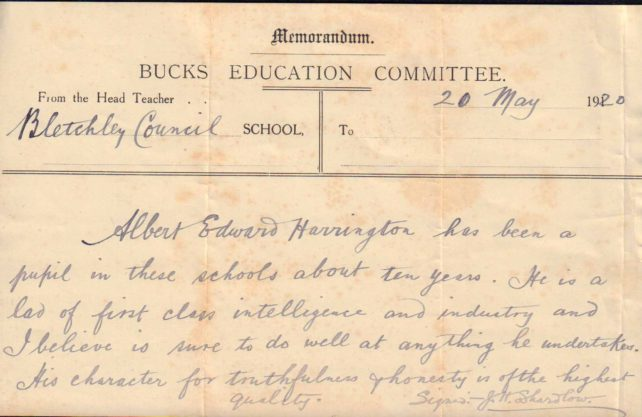Reference letter from Bletchley School, 1920