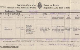 Clara Harrington Death Certificate, 1950