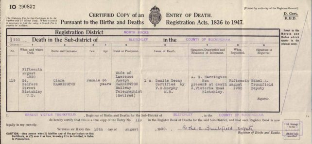 Clara Harrington Death Certificate, 1950