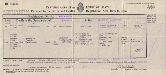 Lawrence Harrington Death Certificate, 1954