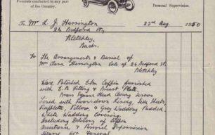 Invoice for Clara Harrington's Funeral, 1950
