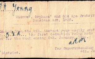 Pension contribution slip for Mr F. H. Young, 1926