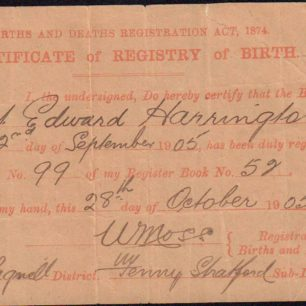 Birth certificate of Albert Harrington, 1905