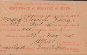 Birth certificate of Margery Young, 1905