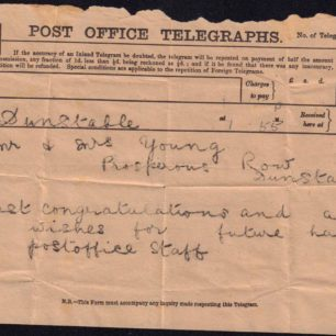 Telegram to Mr and Mrs Young, 1900