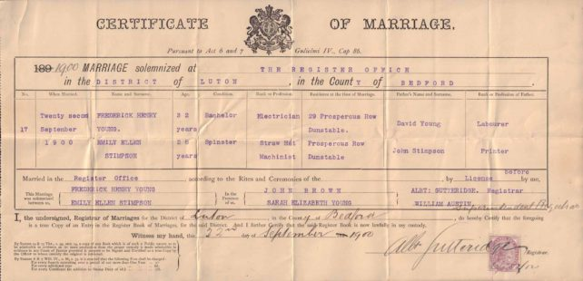 Marriage certificate Mr and Mrs Young, 1900