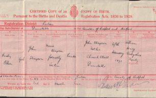 Birth certificate of Emily Ellen Stimpson, 1871